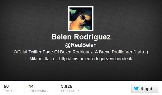 Profilo fake Twitter Belen Rodriguez