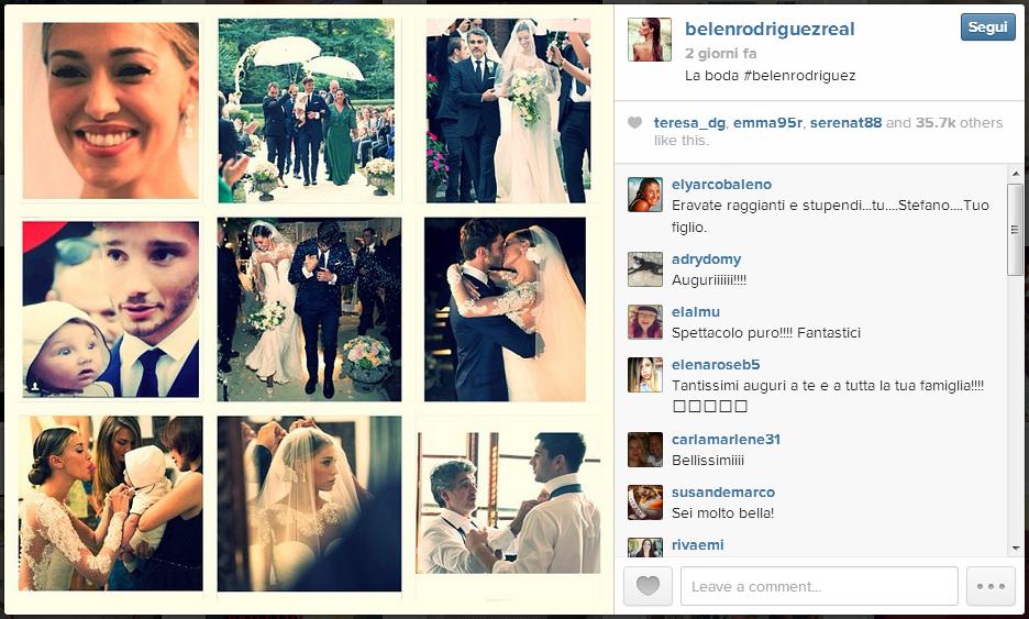 Belen Rodriguez e Stefano De Martino. Le immagini del matrimonio su Instagram