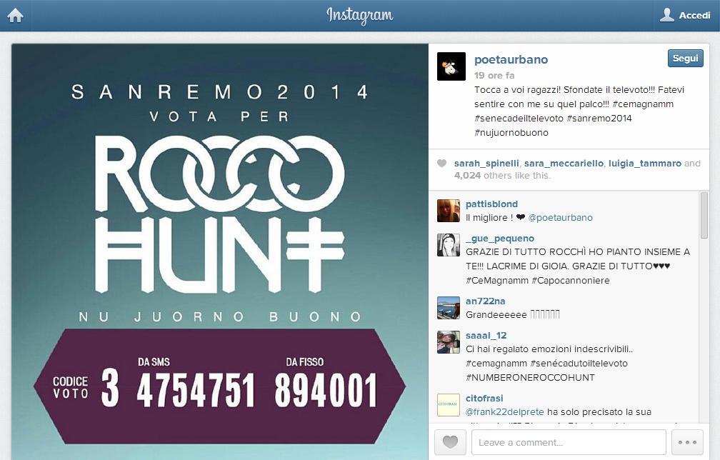 [#Sanremo2014] Tra le Nuove Proposte vince Rocco Hunt, il più seguito sui social network