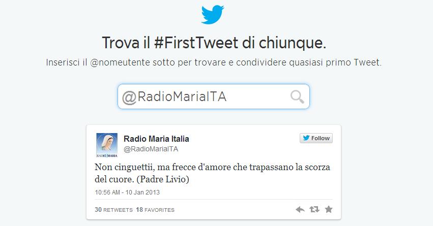 Primo tweet di Radio Maria