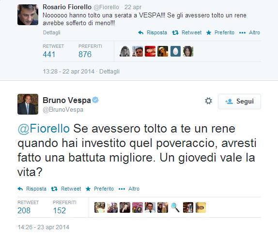 Bruno Vespa contro Fiorello su Twitter