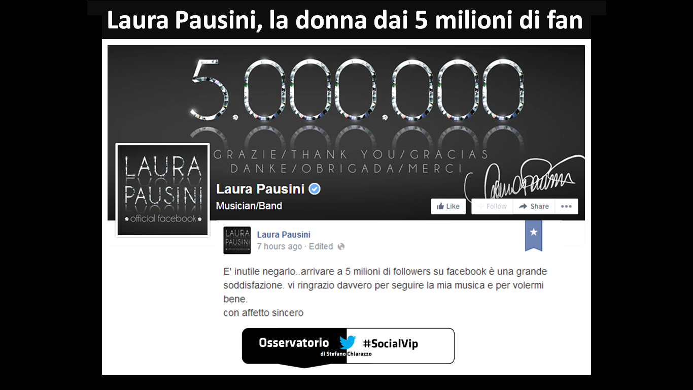Laura Pausini record: 5 milioni di fan su Facebook