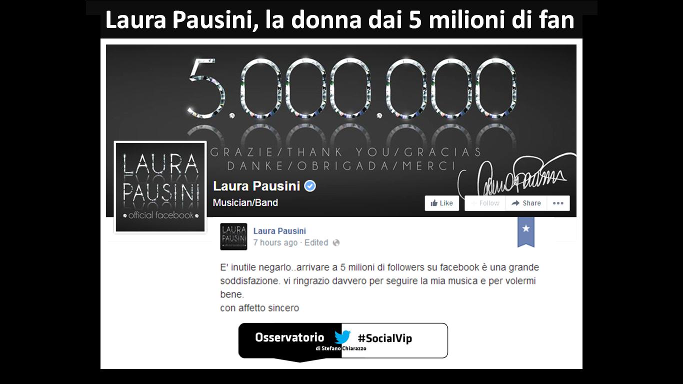[#SocialVip] Laura Pausini, prima italiana dai 5 milioni di fan su Facebook