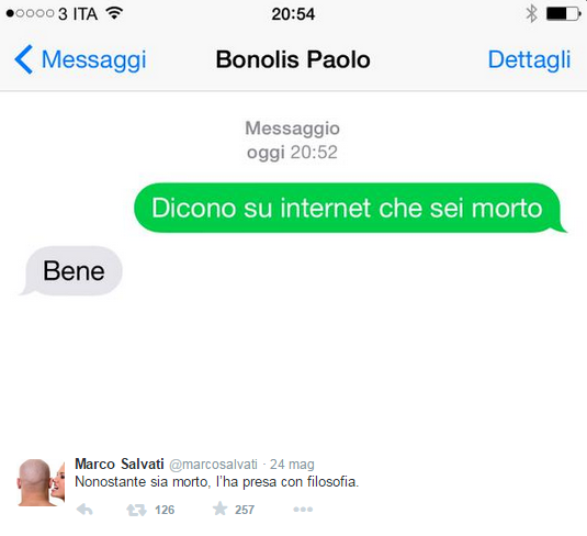 Paolo Bonolis. In rete dicono che sono morto. Peccato