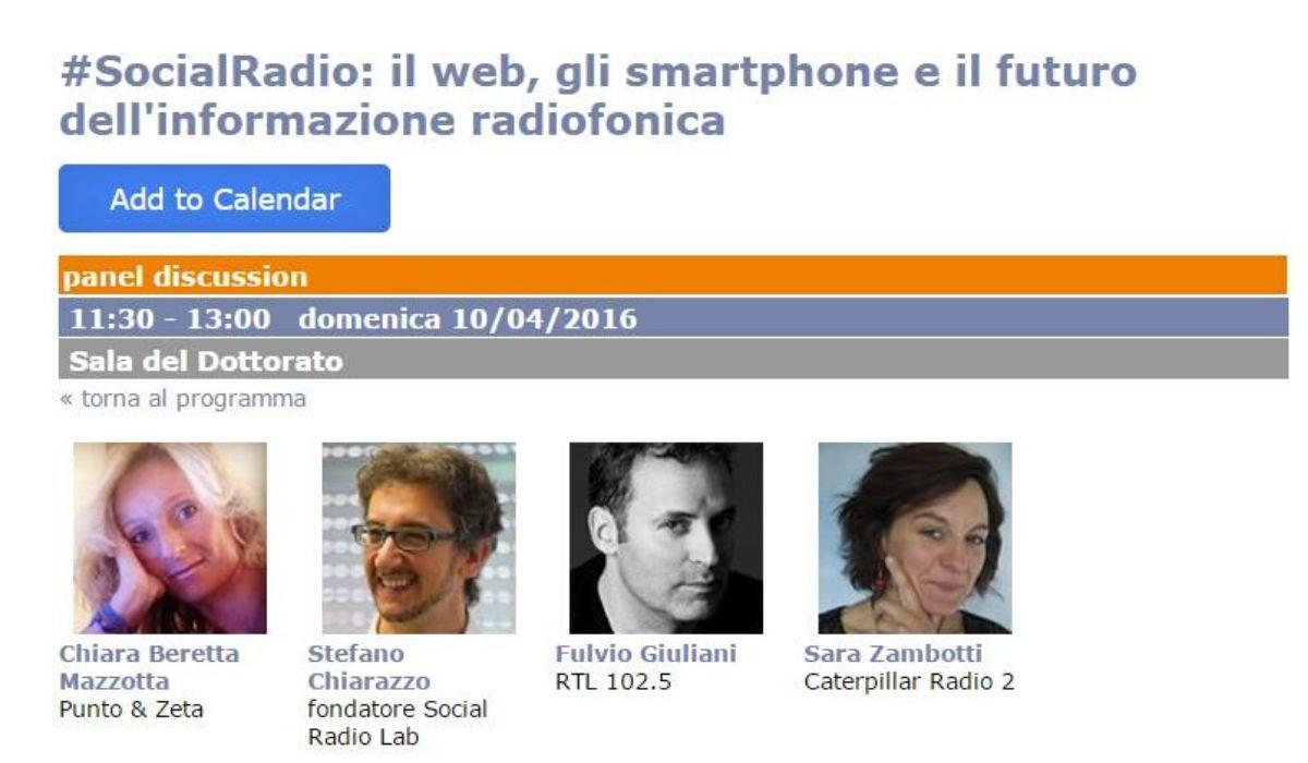Gli ospiti del panel organizzato dal Social Radio Lab al Festival del Giornalismo 2016